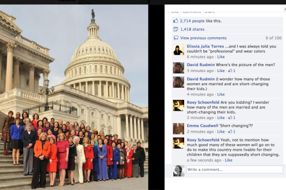 "Photo from MissRepresentation Facebook page, captioned as ""The 113th Congress, officially sworn in today, is the most diverse in American history - including a record-breaking number of women."""
