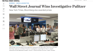 Screenshot from the Wall Street Journal's coverage of the Pulitzers